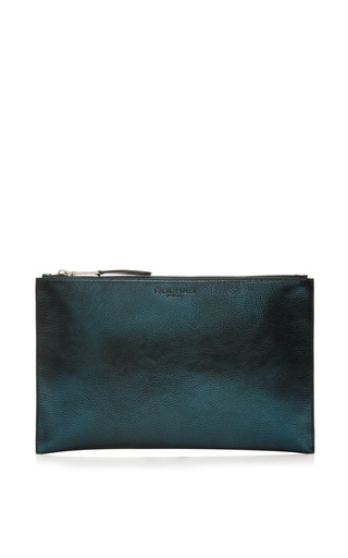 Medium rochas blue leti metallic leather clutch