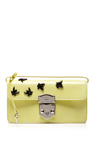 Medium rochas yellow borsa olivia clutch with black beading