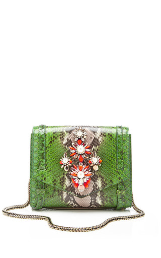 Daktari Crystal Embellished Python Bag by SHOUROUK Now Available on Moda Operandi