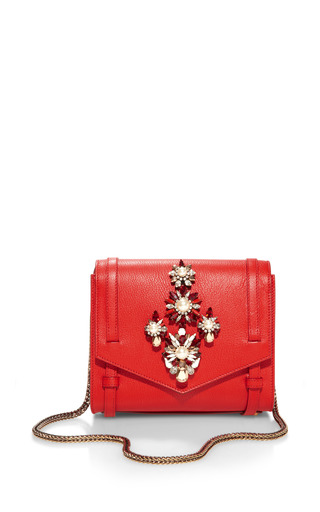 Medium shourouk red daktari crystal embellished shoulder bag 2