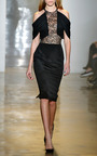 Silk Crepe With Lace And Georgette Dress by CUSHNIE ET OCHS for Preorder on Moda Operandi