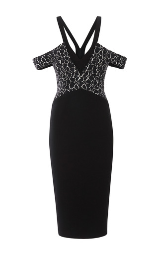 Medium cushnie et ochs black wool blend jacquard dress 2