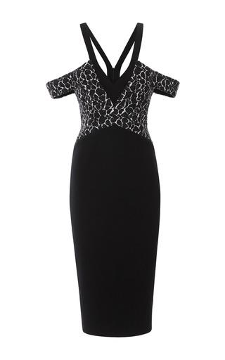 Medium cushnie et ochs black wool blend jacquard dress 2