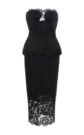 Medium cushnie et ochs black duchess satin with lace dress