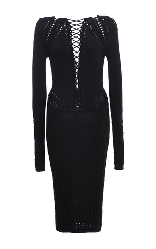 Medium cushnie et ochs black cotton viscose knit dress