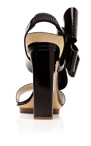 Patent Leather Bow Detail Sandals by DELPOZO Now Available on Moda Operandi