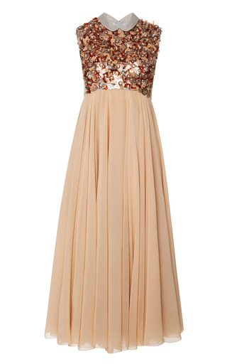 Medium delpozo brown dress with embroidered bodice