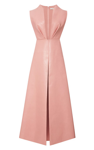 Medium delpozo pink leather pinafore with pant skirt