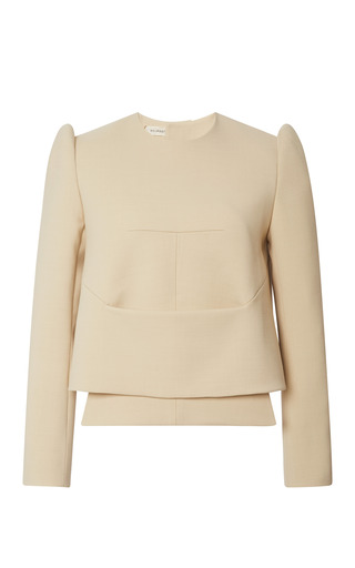 Medium delpozo white long sleeved crew neck over shirt