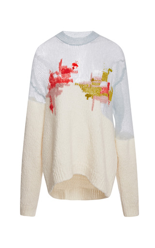 Medium delpozo red knit pullover with embroidery