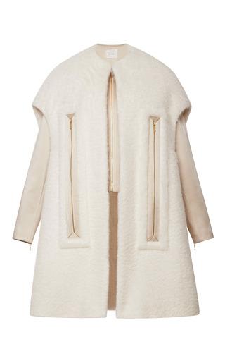 Medium delpozo multi mohair coat with chimney neckline