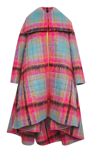 Medium delpozo print quilted cape cut coat