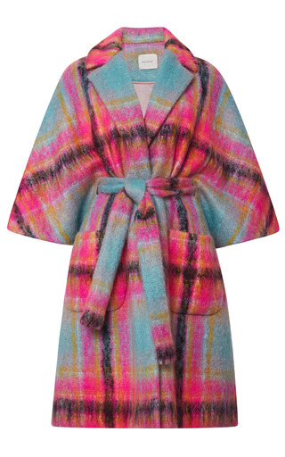 Medium delpozo print cape coat with waist belt
