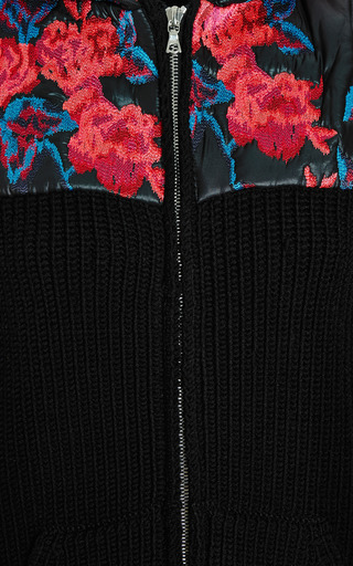 Embroidered Merino Knit Zip Front Hoodie by THAKOON for Preorder on Moda Operandi