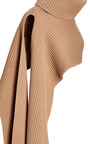 Camel Ribbed Funnel Neck Scarf by THAKOON for Preorder on Moda Operandi