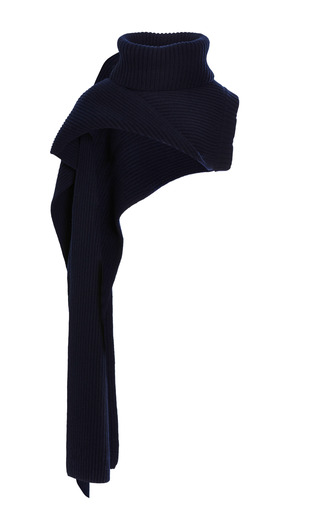 Medium thakoon navy navy ribbed funnel neck scarf