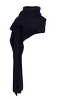 Navy Ribbed Funnel Neck Scarf by THAKOON for Preorder on Moda Operandi