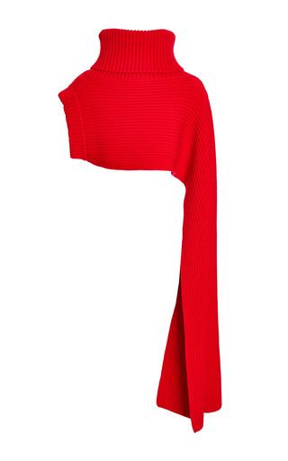 Fuchsia Ribbed Funnel Neck Scarf by THAKOON for Preorder on Moda Operandi