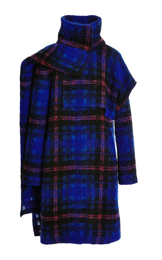 Medium thakoon pink plaid wool funnel neck coat