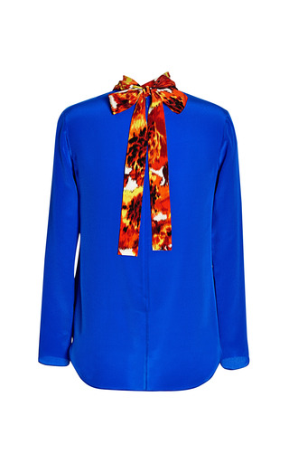 Medium thakoon blue tie neck top with printed inset