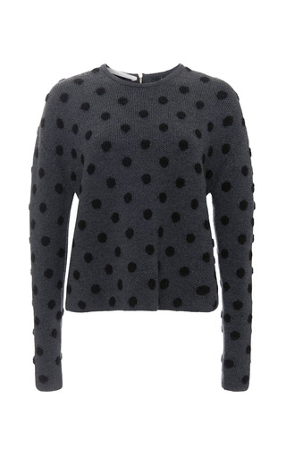 Medium thakoon addition dark grey polka dot long sleeve sweater