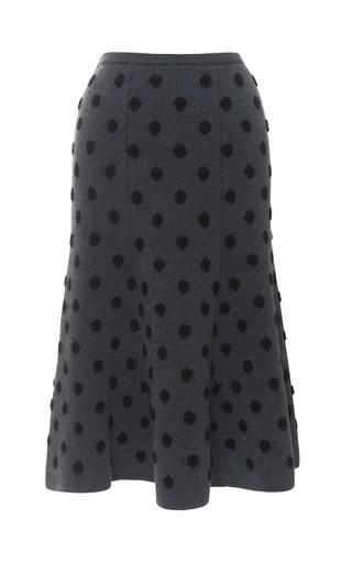 Medium thakoon addition dark grey polka dot flare skirt