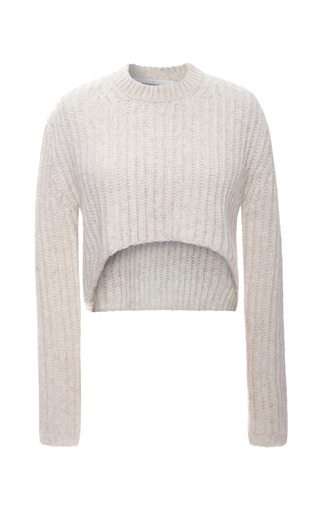 Medium thakoon addition ivory floating cable cropped pullover