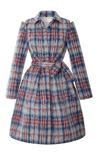 Medium calla dark grey fuzzy plaid dress coat