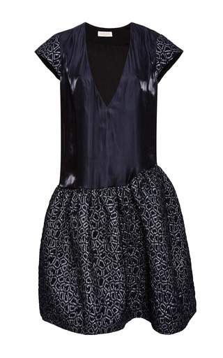 Medium calla black memphis lurex jacquard dress