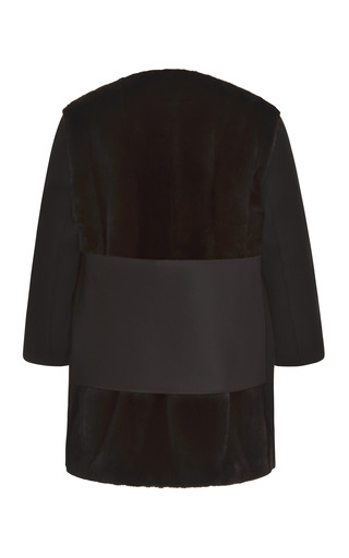Bonded Wool Felt And Satin Caban With Black Black Glama Mink Fur by TOME for Preorder on Moda Operandi