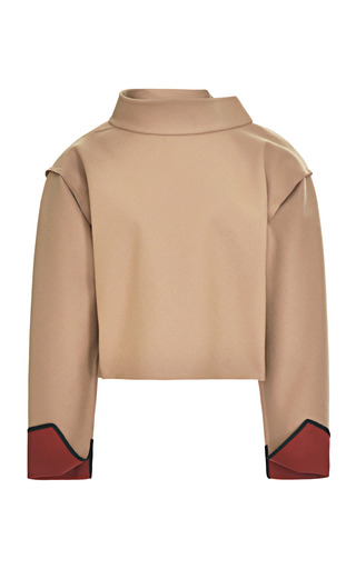 Medium tome brown camel double face wool gabardine pullover