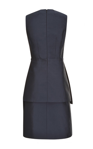 Navy Silk Faille Peplum Dress by TOME for Preorder on Moda Operandi