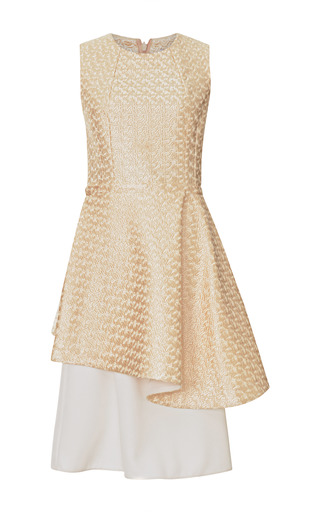 Medium tome gold gold astrakhan embroidered lace peplum dress with crepe skirt