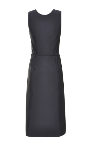 Navy Silk Faille V Neck Dress by TOME for Preorder on Moda Operandi