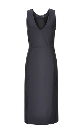 Medium tome navy navy silk faille v neck dress