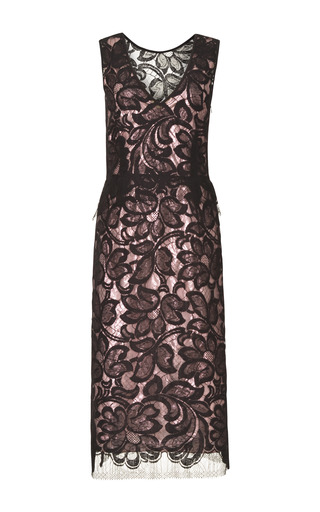 Medium tome black black lace dress with and pink silk lame lining