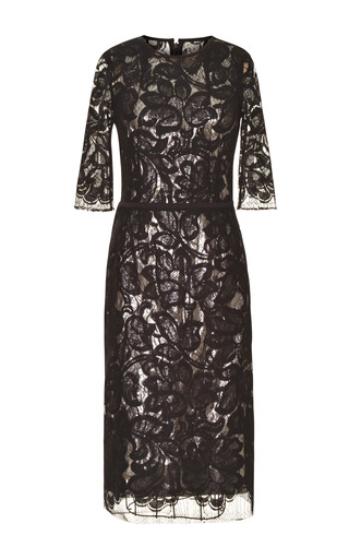 Medium tome black black lace dress with silver silk lame lining