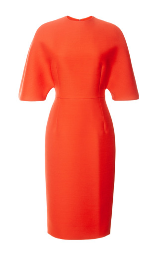 Medium carolina herrera red triple couture wool dress with belt