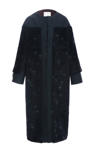 Medium carolina herrera navy long haired wool coating coat