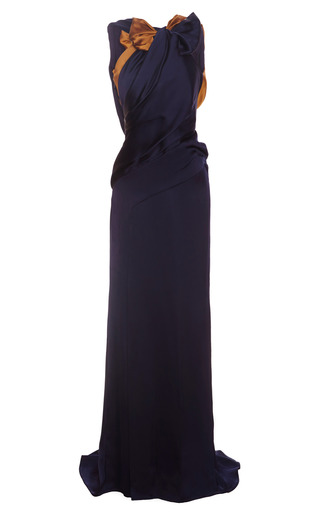 Medium carolina herrera navy double face charmeuse gown
