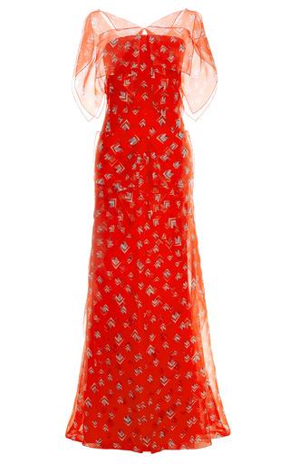 Medium carolina herrera red diamond fantasy print organza gown