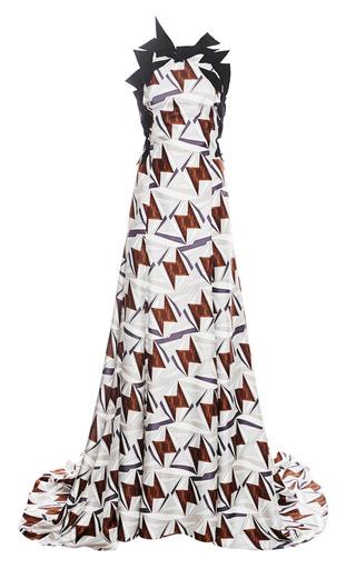 Medium carolina herrera dark grey triangle duo print twill gown