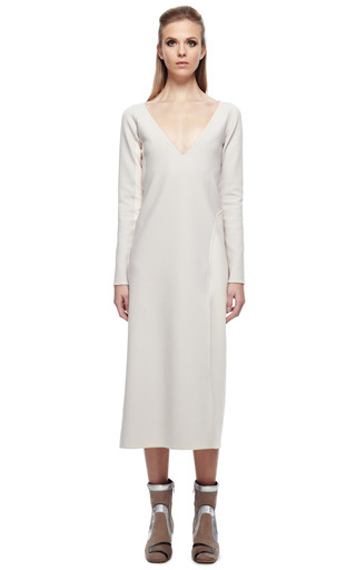 Bone Stretch Wool Long Sleeve V Neck Dress by MARC JACOBS for Preorder on Moda Operandi