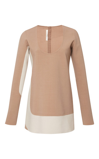 Medium marc jacobs off white camel color blocked stretch wool mini dress