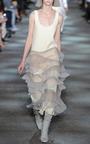 Cream Wool Crepe Sleeveless Ruffle Hem Dress by MARC JACOBS for Preorder on Moda Operandi