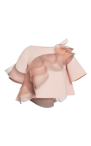 Medium marc jacobs pink rose wool crepe top with ruffle detail