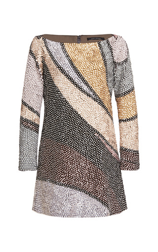 Medium marc jacobs brown sequin wave embroidered boatneck tunic