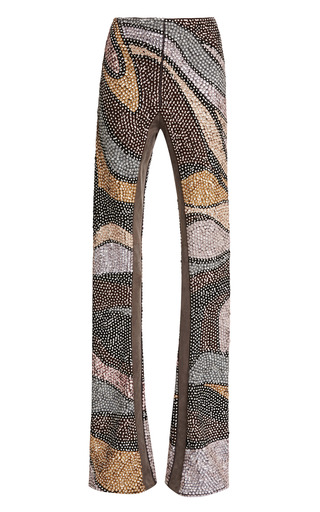 Medium marc jacobs brown sequin wave embroidered flare pants