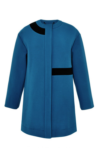 Medium kenzo blue collarless coat in textured crepe double face