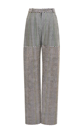 Medium kenzo black wide leg pants in white noise viscose cotton jacquard